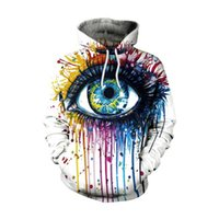 Wholesale big eyes oil resale online - New Design Unisex D Hoodies Oil Painted Big Eye Funny Print Hooded Sweatshirt Hip Hop Hoody Top Pockets Tracksuit