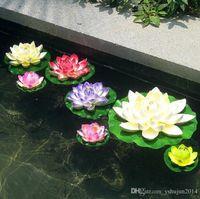 ingrosso serbatoio di loto-Vendita calda !! Fiore di loto artificiale del diametro di 10 cm che galleggia sullo stagno di acqua per la decorazione di acquario