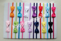 Wholesale rubber chemicals online - 100pcs baby ribbon hair bow with mini Thin Elastic headbands girl hair accessorie quot bow flower hair band slender rubber hair ties PJ5277
