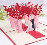 Wholesale 3d Bride Groom Invitation - 10pcs Hollow Bride and Groom Handmade Kirigami Origami 3D Pop UP Greeting Cards Invitation Postcard For Wedding Party Gift