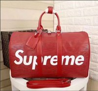 Wholesale Red Duffle Bags - red new fashion men women travel bag duffle bag, brand designer luggage handbags large capacity sport bag