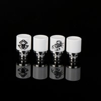 Wholesale Ceramic Prints - Ceramic Wide Bore Drip Tips printing with spider and scorpion 510 Drip Tip EGO Atomizer Mouthpieces for RDA RBA DCT CE4 vaporizer MDO