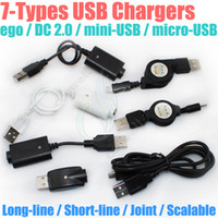 Wholesale electronics cigs types resale online - electronic cigarette Charger USB DC ego mini USB micro USB Scalable passthrough A TYPE MALE TO mm DC2 for g Battery e cigs chargers