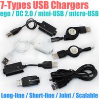 dc erkek toptan satış-Elektronik sigara Şarj USB DC 2.0 ego mini USB mikro USB Ölçeklenebilir geçidi A TIP ERKEK 2.5mm DC2.0 için g Pil e cigs şarj