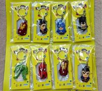 batman anahtar oyuncakları toptan satış-Avengers Rakamlar Anahtarlık Oyuncaklar Batman Superman Demir Adam Thor Örümcek Adam Kaptan Amerika PVC Oyuncaklar PVC Kolye Karikatür Anahtar zincirleri