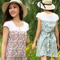 Wholesale Cute Maternity Summer Dresses - 2014 Summer Elegant Rural style Cotton blend Maternity Dress Cute Contrast Color patchwork Floral Clothes For pregnant women