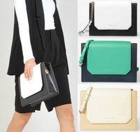 Wholesale Lady Cross Bag - P01 wholesale OL LADY bicolor Faux Leather envelope clutch messenger bag crossbody bag green flap WHITE YELLOW