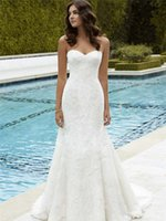 Wholesale Enzoani Wedding Dress Mermaid - Graceful Lace Appliqued Wedding Dresses Mermaid Sweetheart Neckline Zipper Back Bridal Gown Sweep Train Tulle Wedding Dress Blue Enzoani