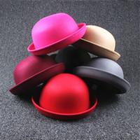Wholesale Red Childrens Winter Hat - New Girl Wowen Wool Felt Hats Childrens Vintage Wide Brim Beach Caps Kids Hats free shipping