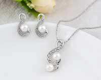Wholesale Chandelier Necklaces Wholesale - Jewelry set Lady necklace&earring sets 925 sterling silver freshwater pearl Music necklace and stud earrings for women