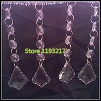 "Wholesale Clear Glass Crystal Garland - 4.7""(12cm) 20""(50cm) Crystal Glass Octagonal Bead Garland Strands Acrylic Drop Pendant Chandelier Hanging Bead Chains Wedding Decor"