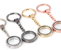 Wholesale Man Float - 10PCS lot 30MM Rhinestones Round Floating Locket Key Chains Glass Living Magnetic Charms Locket Keychain