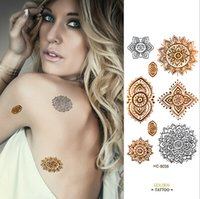 diseños de tatuajes metalicos al por mayor-Diseño Flash del tatuaje Extraíble Impermeable Oro Tatuaje Metálico Tatuaje temporal Pegatinas Arte corporal temporal Tatoo