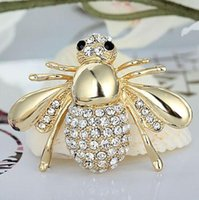 Wholesale Vintage Insect Pins - Honey Bees Insect Brooch Broches Brooches Wedding Bouquet Vintage Wedding Hijab Scarf Pin Up Buckle Broches
