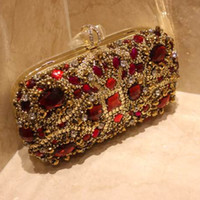Wholesale Evening Formal Clutch Bags - Luxury Red Crystals Bridal Hand Bags Evening Clutch Bags Wedding Handbag Designer Gold Formal Party Beaded Purse Bridal Accessories