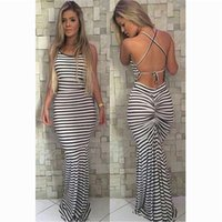 Wholesale Shirred Dress Straps - Hot Women Long Casual Ladies Spaghetti Strap White Striped Crisscross Shirred Back Sheath Maxi Dress Sexy Beach Backless Dress yw-002