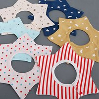 Wholesale Towel Wear - 2017 Cotton Star Flower Baby bib Infant saliva towels Bibs Burp Cloths Baby Waterproof bib styles Random delivery Baby Feeding wear A7774