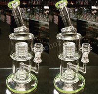 Wholesale Classic Oil - Heady Green Beaker Bong Bent Neck Water Pipes with Stereo Matrix Perc Classic Bubbler Recycler Oil Rigs Cheap Hookah Free Shipping