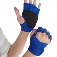 Wholesale Sports Safety Gloves - Wholesale-High quality fashion sports fitness weightlifting non-slip half refers training hand safety protective gloves Blue Black