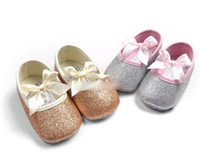 Wholesale 1year Baby Girls Shoes - Baby Girl Blazing Golden Silver Princess Shoes Toddler Bow First Walker Shoe Cotton Fabric Soft Sole Antikid Moccasins For 0-1Year EMS I4511