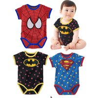 Wholesale Newborn Batman - Character Superman Baby Bodysuits Summer Newborn One-Piece Clothes Rompers Batman Shortalls Overall Free Shipping