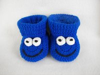 häkeln baby booties monate groihandel-Baby Booties, Krümelmonster, Royal Blue Newborn bis 6 Monate Fein fertig häkeln 2015 Fashion HandmadeCrochet Baby ersten Spaziergang Schuhe