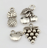 Wholesale Mixed Fruit Charms - Hot Sales ! 120 pcs Antique Silver Alloy Apple Grape Cherry Pineapple Mixed Fruit Charms Pendant DIY Jewelry