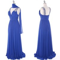 Wholesale Mather Dresses - Actual Picture High Quality Mather Bride Mother of the Groom Dresses Royal Blue Wedding Party Bridesmaid Dress Beaded V Neck Chiffon Gown
