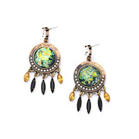 Wholesale Color Crystal Teardrop Earrings - 2016 Vintage Pave UFO Earrings Color Teardrop Tassels Charm Earring Designed Cabochon Stone Vintage Gold Plated Free Shipping