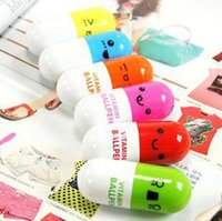 Wholesale Pen Pills - Pill Shape Retractable Ball Point Pen Korean smile Ballpoint Pens Creative Stationery Office pen Children's Gifts ZJ-T02