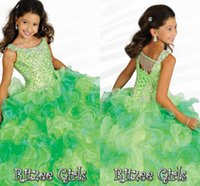 Wholesale Ornate Beads - 2015 Ornate Scoop Neckline Crystals Tassels Ruffles Girls' Formal Occasion Pageant Gowns Ball Gown Floor Length Organza Flower Girl Dresses