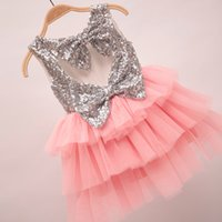 Wholesale Pretty Pink Clothing - 2016 Spring Summer Girls Dress Pretty Sequin Big Bowknot Dress Girl Baby Clothes Dress Tops 5pcs lot Pink K6721