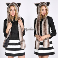 Wholesale Animal Scarf Hat Mittens - Wholesale-Faux Fur Hats for women Long Scarf Mittens Animal Ears Hoodie White Husky Hood Winter Animal Hat 50