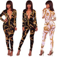 Wholesale tight party jumpsuits - Womens Gold Chain Print Autumn Sexy Tight Sleeved Party Playsuit Jumpsuit Ladies Fall Long Pants Rompers For Women