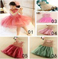 Wholesale Girls Red Gauze Dress - Baby girls sequin gauze dress sleeveless vest dress bling sequin tutu dress princess girls party dress 5 p l
