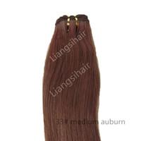 tejido de remy auburn al por mayor-Extensiones de cabello indio recto de grado 7A 100g 1pcs 16