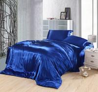 edredon venda por atacado-Azul Royal conjunto de cama de seda lençóis de cama lençóis de cetim super king size rainha colcha capa de edredão colchas de casal doona 4 pcs 6 pcs