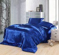 funda nórdica azul de seda al por mayor-Juego de cama azul real seda sábanas ajustadas sábanas súper king size edredón de reina edredón doble cubrecamas doona 4 unids 6 unids