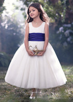 Wholesale Young Girls Pageant Dresses - Flower Girls Dresses For Kids Covered Button Bow Back Young Girls Dresses Ribbon Sash Ruffle Tea Length Ball Gown Pageant Dress For Girl