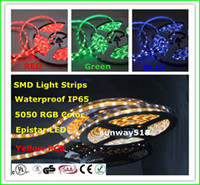 Wholesale Led Roll Lights Kits - Waterproof 5050 SMD Led Strips Light White Red Green Blue RGB Flexible 5M Roll 300 Leds DC12V outdoor strip kit