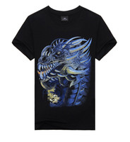 Wholesale Male Dragon Clothing - men Cool Style THE Dragon animal 3D T Shirt Black Short Sleeve T-shirt male Clothing Top Tees For Summer tx36