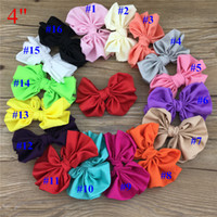"""Wholesale Bow Hair Ornaments - 32pcs lot 4"""" big satin kids hair bows With Clip for baby girls hairbows Accessories Hairpins Ornaments,buotique fabric bows"""