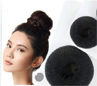 Wholesale Hair Donut Sizes - 3PCS Black Color Size S M L 3 Different Sizes Hair Styling Donut Magic Sponge Bun Ring Maker Former Twist Tool Free Shipping