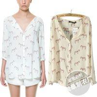 Wholesale Zebra Print Blouse - JXL and the wind spring and summer clothing wholesale zebra print color V Collar Chiffon Long Sleeved Shirt Blouse