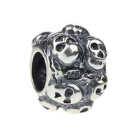 Wholesale Skull Beads Bracelets 925 - Beads Hunter Jewelry Authentic 925 Sterling Silver Catacomb Skulls Charm big hole bead For 3mm European Bracelet snake chain bangle