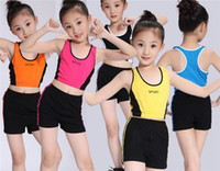 Wholesale American Girl Leotard - Children Dance Clothing Girls Leotards Clothes Sets Kids Black Blue Rose Red Yellow Orange Sports T-shirt + Pant I4668
