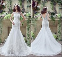 Wholesale Sexy Summer Dresses For Cheap - 2016 Sexy Cheap Mermaid Wedding Dresses Lace Sheer Neck Backless Applique Brush Train Wedding Gown Bestoffers For Wedding Party