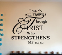 Wholesale Vinyl Wall Art Sayings - I Can Do Anything through Christ who strengthens Me Wall Quote Decal Sticker English Monogram Phil Saying Wall Applique Wallpaper Graphic
