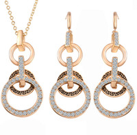 Wholesale Double Drop Earrings - Fashion Pend Austrian Crystal Double Circle Jewelry Sets Party Gold Pendant Necklace Drop Earrings Set For Women Gift HZ