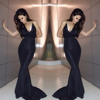 Wholesale Evening Dress Jacket Taffeta - 2016 Custom Made Black Evening Dress Halter Plunging Neckline Sexy Backless Prom Dress Long Fitted Evening Gown Elastic Satin Formal Dress